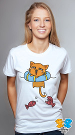 Clapping Cats cool graphic tees for women Tabby 09 white 01