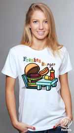 MooTees cool graphic T shirts for women Food Talk 02 white 02