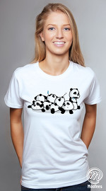 MooTees cool graphic T shirts for women Panda Rama 09 white
