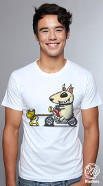 MooTees cool graphic tees for men Badass Dog 03 white 01