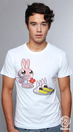 MooTees cool graphic tees for men Bunny Ventures 03 white