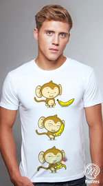 MooTees cool graphic tees for men Monkey Business 02 white