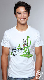 MooTees cool graphic tees for men Panda Rama 05 white 04