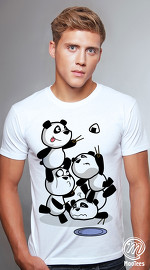 MooTees cool graphic tees for men Panda Rama 07 white