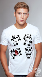 MooTees cool graphic tees for men Panda Rama 08 white