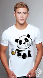 MooTees cool graphic tees for men Panda Rama 10 white