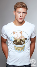 MooTees cool graphic tees for men Pugs 04 white