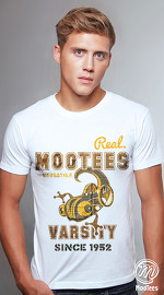 MooTees cool graphic tees for men Vintage Varsity 02 white 02