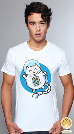 Peperpine cool graphic T shirts for men Lashes Astronaut Cat white