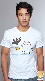 Peperpine cool graphic T shirts for men Lashes Bat Robin And Cat white
