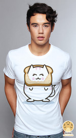 Peperpine cool graphic T shirts for men Lashes Breading Cat white