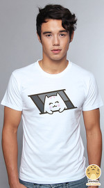 Peperpine cool graphic T shirts for men Lashes Ceiling Cat white