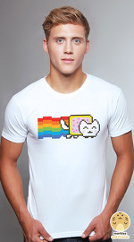 Peperpine cool graphic T shirts for men Lashes Nyan Cat white