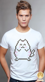 Peperpine cool graphic T shirts for men Lashes Pixel Cat white