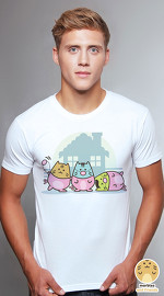Peperpine cool graphic T shirts for men Marbles Piglets white