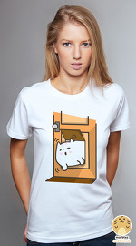 Peperpine cool graphic tees for women Lashes Stuck In A Cat Flap white