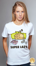 Peperpine cool graphic tees for women Marbles 02 Super Lazy white