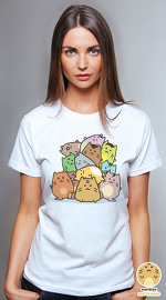 Peperpine cool graphic tees for women Marbles Cat Pile white