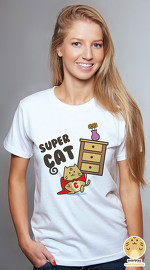Peperpine cool graphic tees for women Marbles Super Cat white