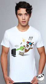 Slapping Panda cool graphic tees for men 3D Phobia white 01