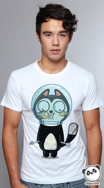 Slapping Panda cool graphic tees for men Bowl Kat white 04