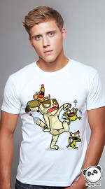 Slapping Panda cool graphic tees for men Cat Bot white 02