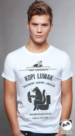 Slapping Panda cool graphic tees for men Kopi Luwak white 01