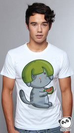 Slapping Panda cool graphic tees for men Pomelo Cat white 04
