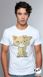 Slapping Panda cool graphic tees for men Wet Cat white 04