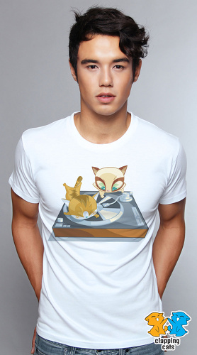 Clapping Cats cool graphic T shirts for men Caturday 03 white 04