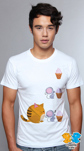 Clapping Cats cool graphic T shirts for men Fat Cat 04 white 04