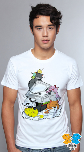 Clapping Cats cool graphic T shirts for men Meowphersons 03 white 04