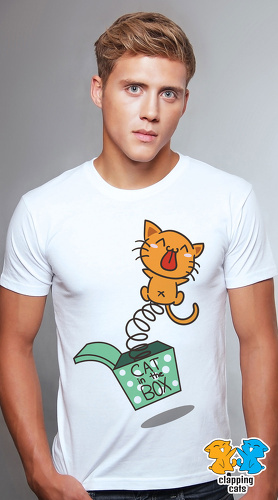 Clapping Cats cool graphic T shirts for men Tabby 07 white 01