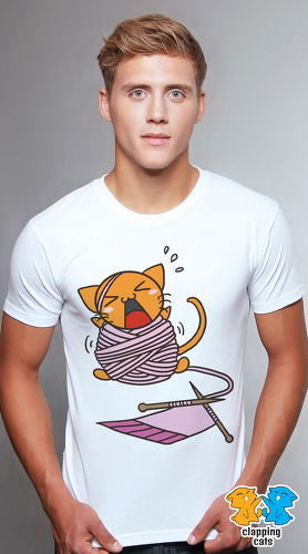 Clapping Cats cool graphic T shirts for men Tabby 10 white 01