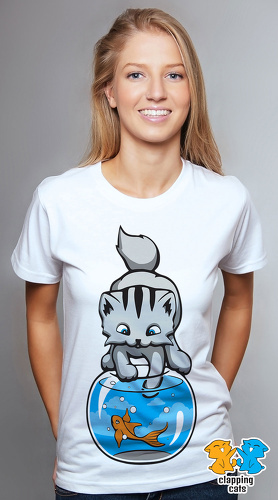 Clapping Cats cool graphic tees for women Graybles 04 white 02