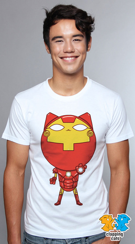 Clapping Cats cute graphic T shirts for men Super Hero Cats 05