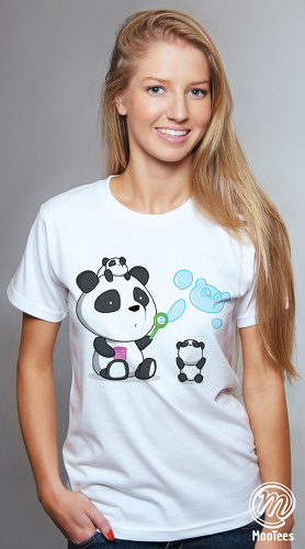 MooTees cool graphic T shirts for women Panda Rama 02 white 04