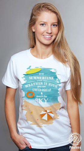 MooTees cool graphic T shirts for women Summer Days 02 white 01