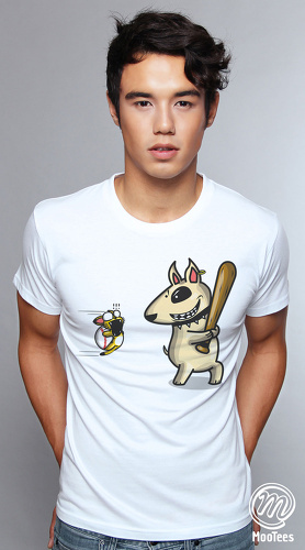 MooTees cool graphic tees for men Badass Dog 04 white 01