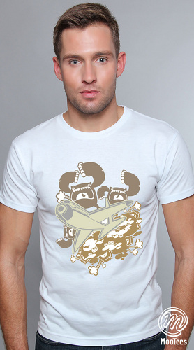 MooTees cool graphic tees for men Invasion 03 white 01