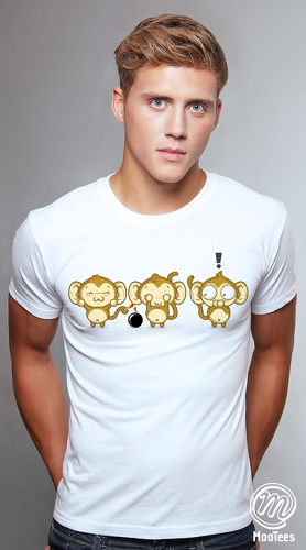 MooTees cool graphic tees for men Monkey Business 04 white