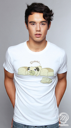 MooTees cool graphic tees for men Puggy 03 white 01