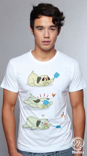MooTees cool graphic tees for men Puggy 05 white 01
