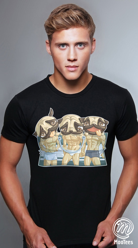 MooTees cool graphic tees for men Pugs 05 black
