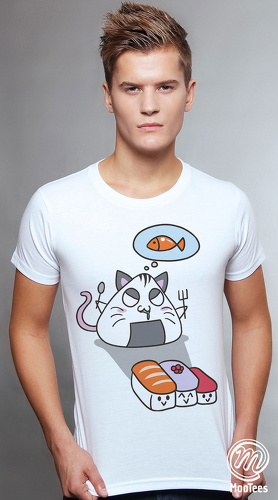 MooTees cool graphic tees for men Sushi Chronicles 03 white 01