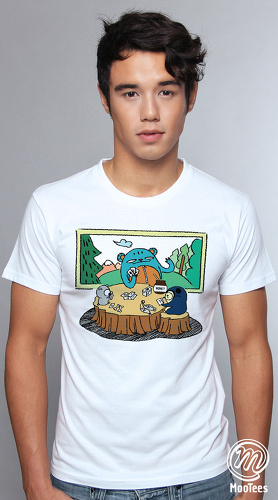 MooTees cool graphic tees for men Trio Rio 04 white 01