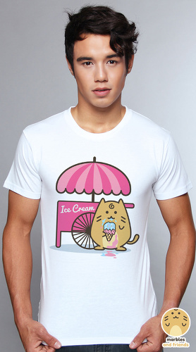 Peperpine cool graphic T shirts for men Marbles Ice Cream white