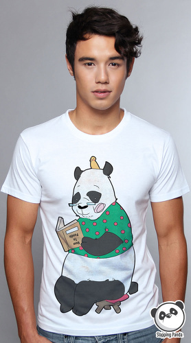 Slapping Panda cool graphic tees for men How To Panda white 04